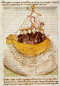 15th century manuscript image of St. Brendan
