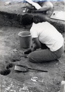Student excavating postmolds at Indian Fort Road site