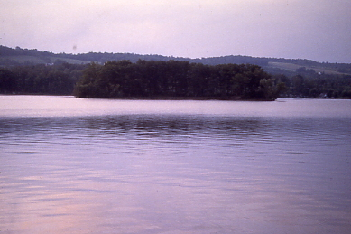 Looking across Lamoka Lake toward an island
