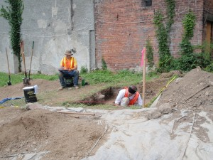 Archaeologists working