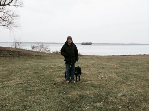 Ed and Alice on the Cayuga Lake shore with Frontenac Island in the background