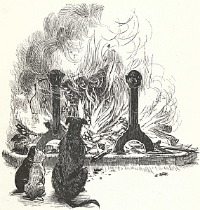 Line drawing of pets sitting by a fire